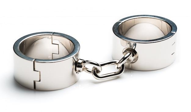 Algemas de ferro metálico cromado Foto Premium