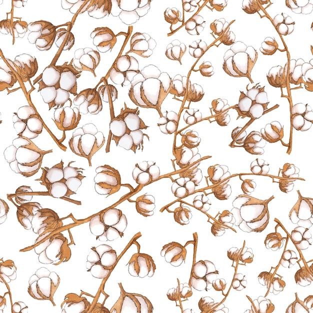 Algodão flores sem costura padrão em branco Foto Premium