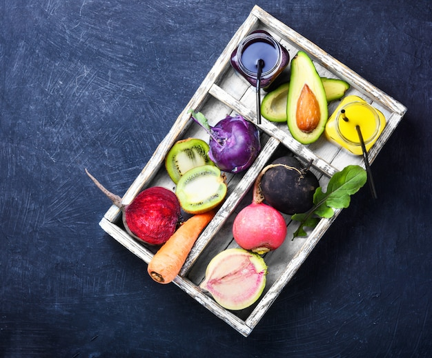 Alimentação saudável e bebidas Foto Premium
