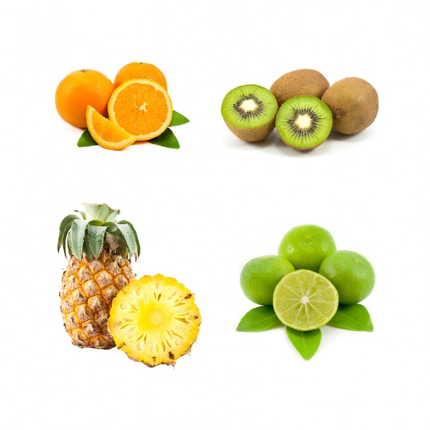 Alimentação saudável limão da folha kiwi divisão Foto gratuita