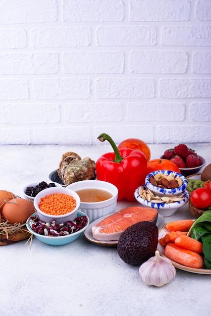 Alimentos ricos em colágeno. produtos saudáveis Foto Premium