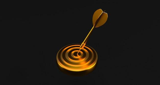 Alvo com um dardo no centro. conceito de realização objetiva. alvo de ouro Foto Premium