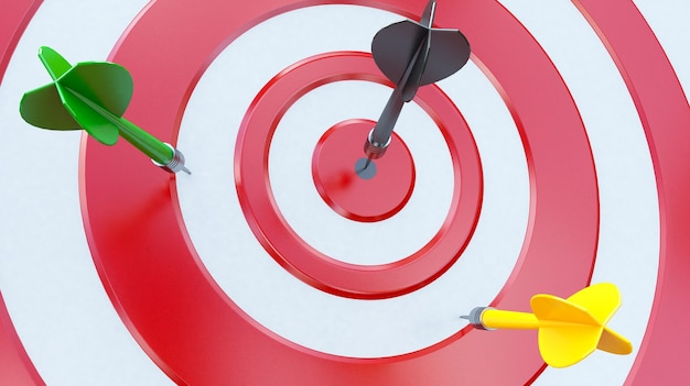 Alvo com um dardo no centro. conceito de realização objetiva. Foto Premium