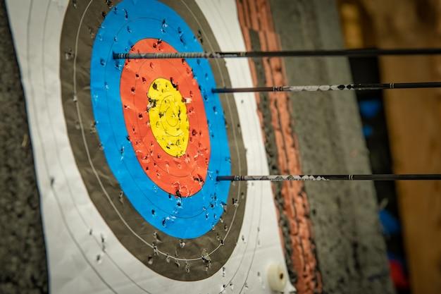 Alvo e dardos na competição de tiro com arco no pavilhão desportivo Foto Premium