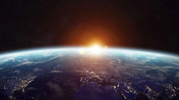Amanhecer, sobre, planeta, terra, em, espaço, 3d, fazendo Foto Premium