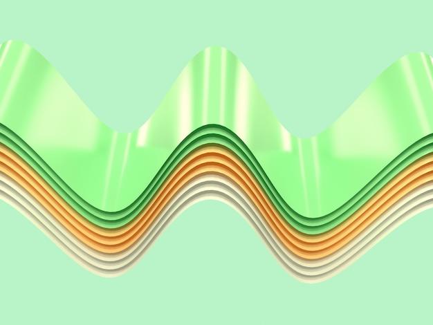 Amarelo verde branco curva onda forma abstrata levitação renderização em 3d Foto Premium