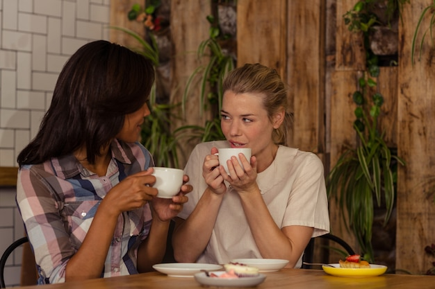 Amigos do sexo feminino interagindo uns com os outros enquanto tomando café Foto Premium