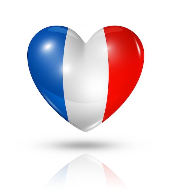 Amo o ícone de bandeira do coração de frança Foto Premium