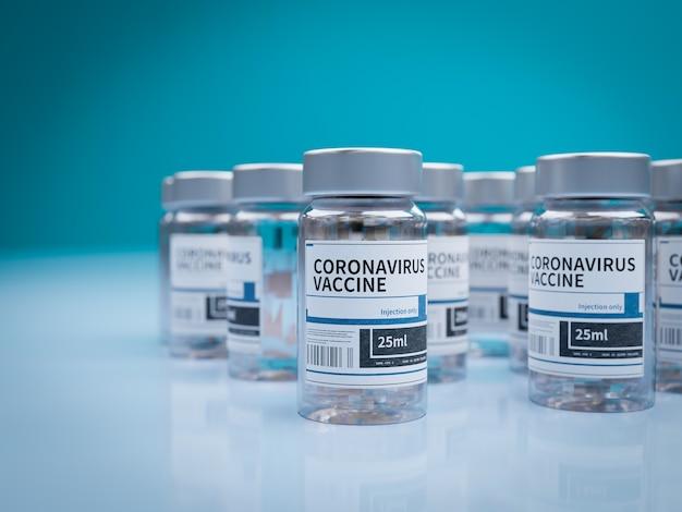 Ampolas com vacina covid-19 em uma bancada de laboratório Foto Premium