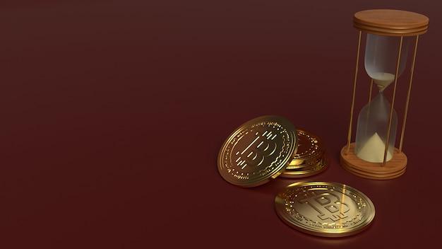 Ampulheta de renderização 3d e bitcoin para criptomoeda Foto Premium