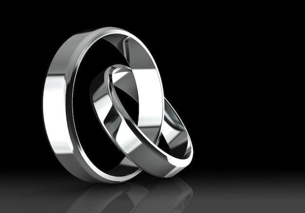 Anéis de casamento de platina Foto Premium