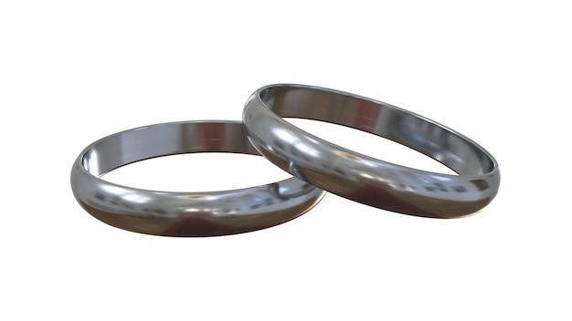 Anéis de noivado de prata sobre fundo branco. um acima do outro. Foto Premium