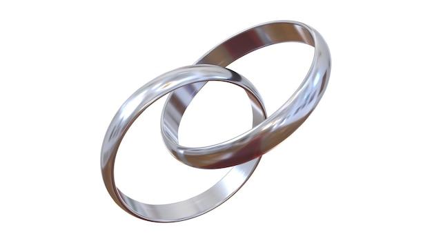 Anéis de noivado vinculados. dois anéis de prata em um fundo totalmente branco. Foto Premium