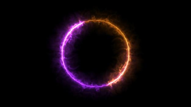 Anel de fogo roxo e laranja, partícula esférica Foto Premium