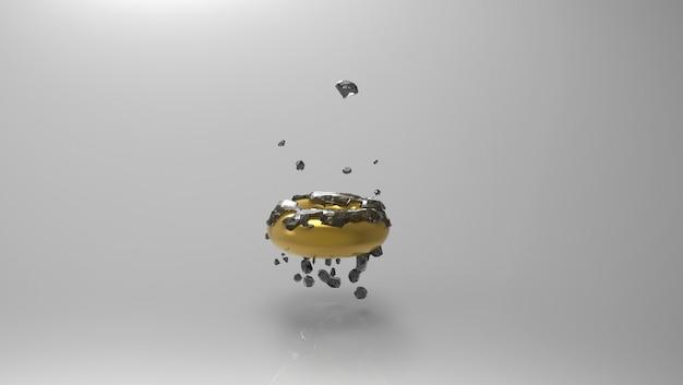 Anel de ouro flutuante com diamantes pretos sobre um cinza Foto gratuita