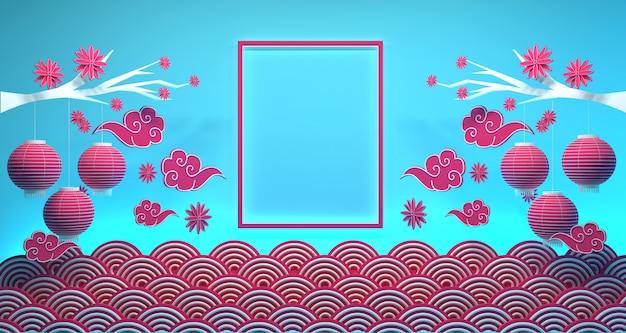 Ano novo chinês banner fundo renderização em 3d Foto Premium