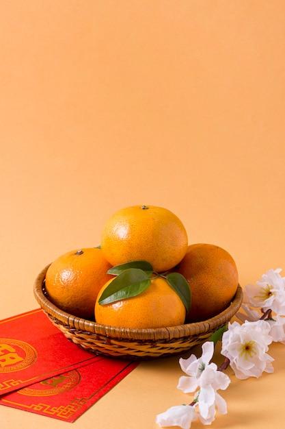 Ano novo chinês com mandarinas Foto Premium
