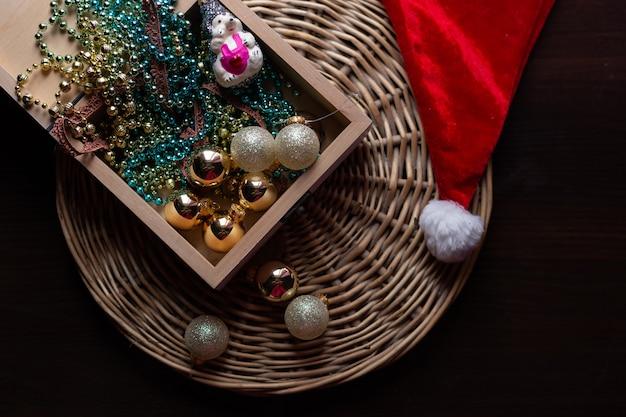 Ano novo e natal conceito ainda vida foto Foto Premium