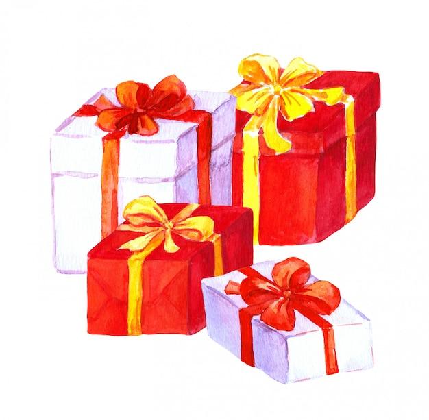 Ano novo, presentes de natal. caixas vermelhas e brancas Foto Premium