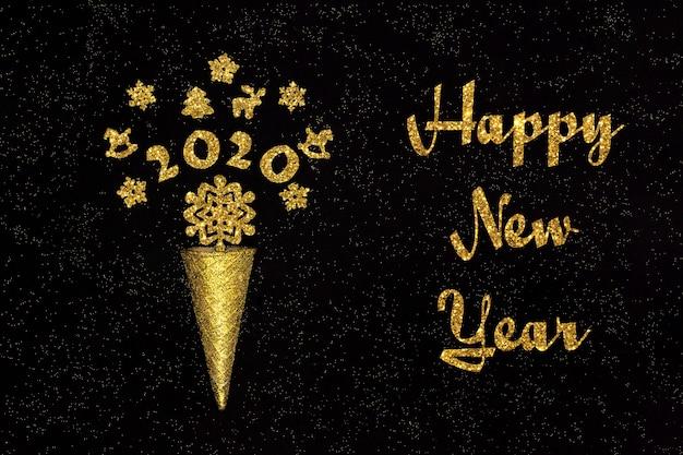 Ano novo texto. cone de waffle dourado com figuras 2020 e decorações de natal Foto Premium