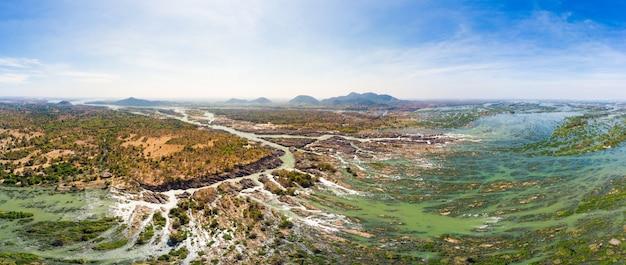 Antena panorâmica 4000 ilhas do rio mekong, no laos Foto Premium
