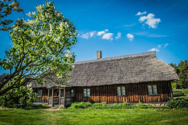 Antiga casa de madeira tradicional em aldeia etnográfica ao ar livre em riga, letônia Foto Premium