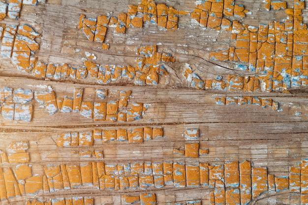Antigas, textured, tábua, com, rachas, coberto, laranja, pintura, toned, luz solar Foto Premium