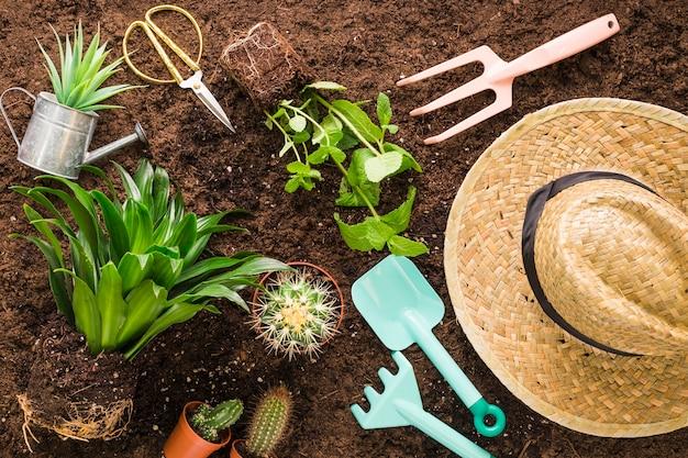 Apartamento leigos de vários objetos de jardim Foto gratuita