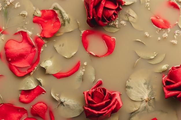 Apartamento leigos rosas vermelhas e pétalas na água de cor castanha Foto gratuita