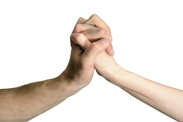 Aperto de mão isolado homens e mulheres, o conceito de consentimento, assistência, acordos Foto Premium