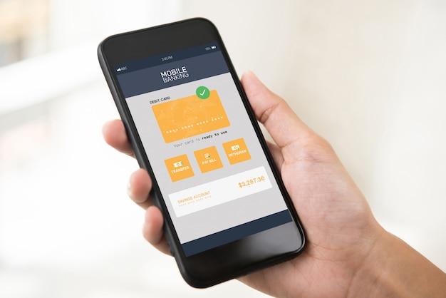 Aplicativo bancário móvel de internet eletrônica na tela do smartphone Foto Premium