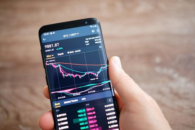 Aplicativo móvel binance em execução no smartphone. a binance é um mercado de câmbio financeiro. Foto Premium