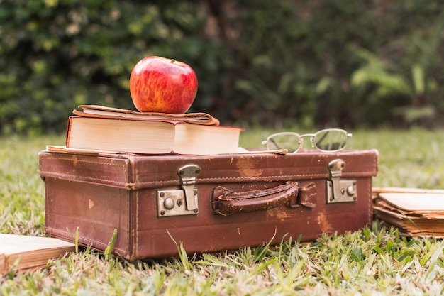 Apple e livro na mala perto de óculos Foto gratuita