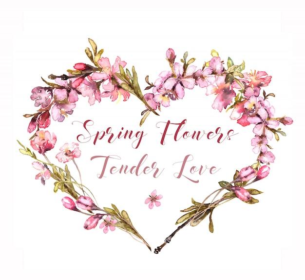 Aquarela de flores de primavera. tender blush heart. Foto Premium