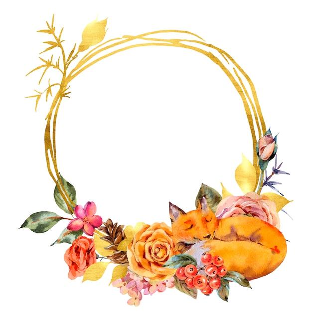 Aquarela floral moldura de ouro com a raposa adormecida, rose, bagas, pinha e flores silvestres. Foto Premium