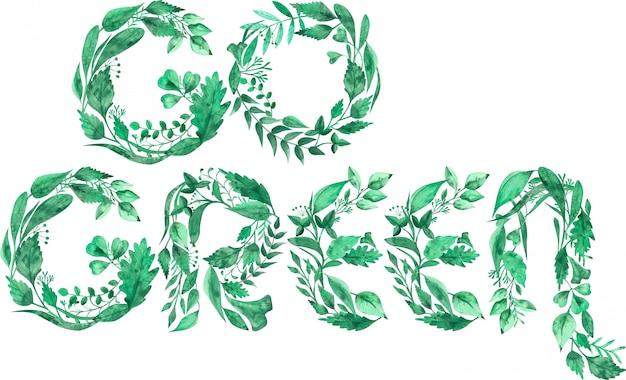 Aquarela ilustração da palavra go ambiental verde feita de folhas verdes isoladas Foto Premium