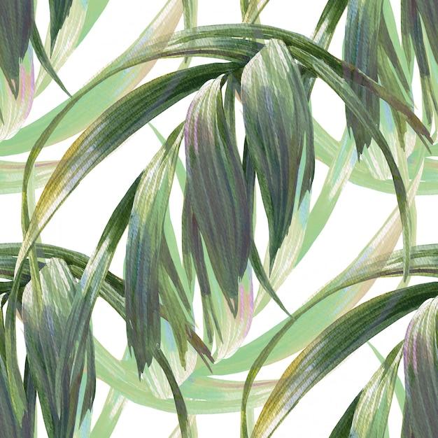 Aquarela ilustração de folha, sem costura padrão em branco Foto Premium