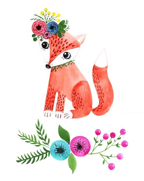 Aquarela ilustração de uma raposa no estilo romântico de verão Foto Premium