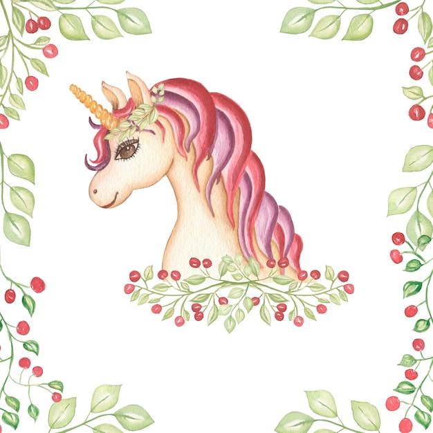 Aquarela mão desenhada ilustração de cartão de unicórnio rosa e violeta. Foto Premium
