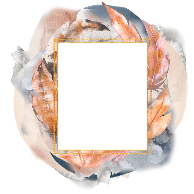 Aquarela mão desenhada ilustração de quadro de penas abstratas. Foto Premium