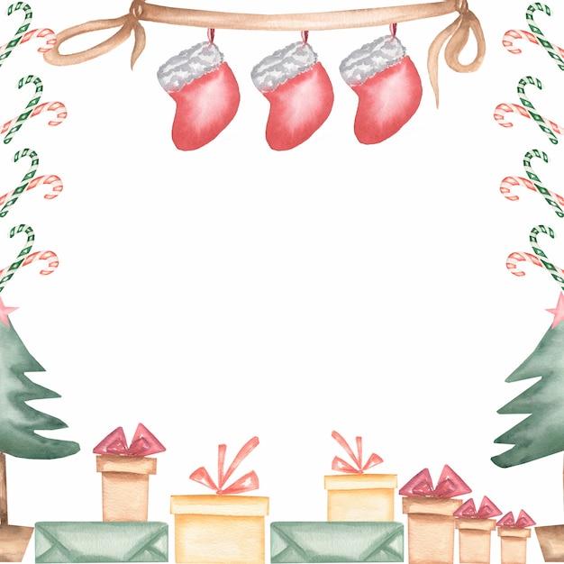 Aquarela mão desenhada natal e ano novo quadro isolado no fundo branco. Foto Premium