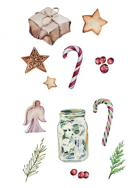 Aquarela mão pintada conjunto de clipart de natal isolado no branco Foto Premium