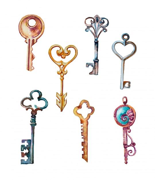 Aquarela pintado à mão chaves e fechaduras clipart conjunto isolado. elementos de design de chaves vintage. Foto Premium