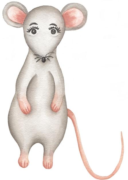 Aquarela ratinho cinzento. Foto Premium