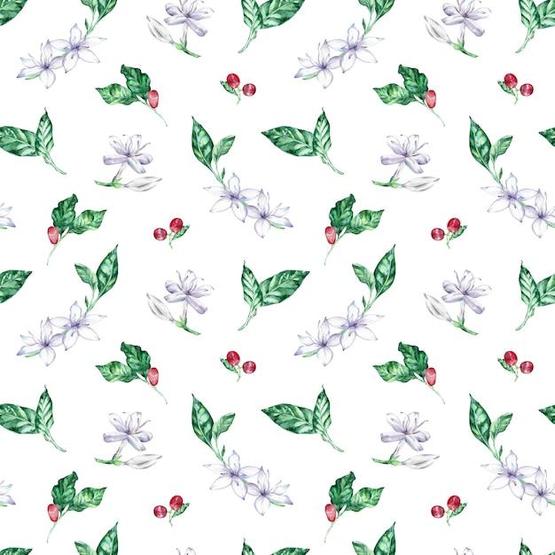 Aquarela sem costura padrão com café flores, bagas e folhas. Foto Premium