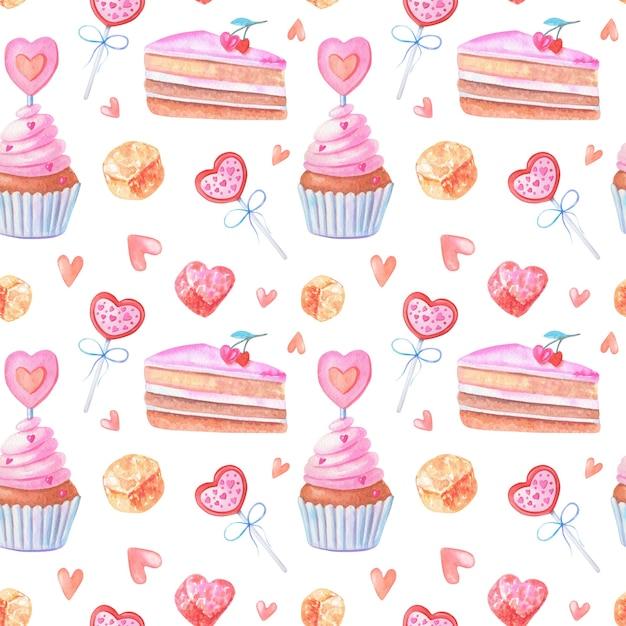 Aquarela sem costura padrão com corações rosa, bolos, geleias, doces. Foto Premium