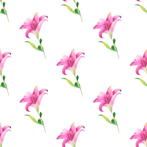 Aquarela sem costura padrão de flores de verão e folhas sobre um fundo claro Foto Premium