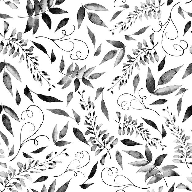 Aquarela sem costura padrão de flores do verão e as folhas sobre um fundo claro. Foto Premium