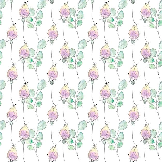 Aquarela sem costura padrão de flores e folhas de verão Foto Premium