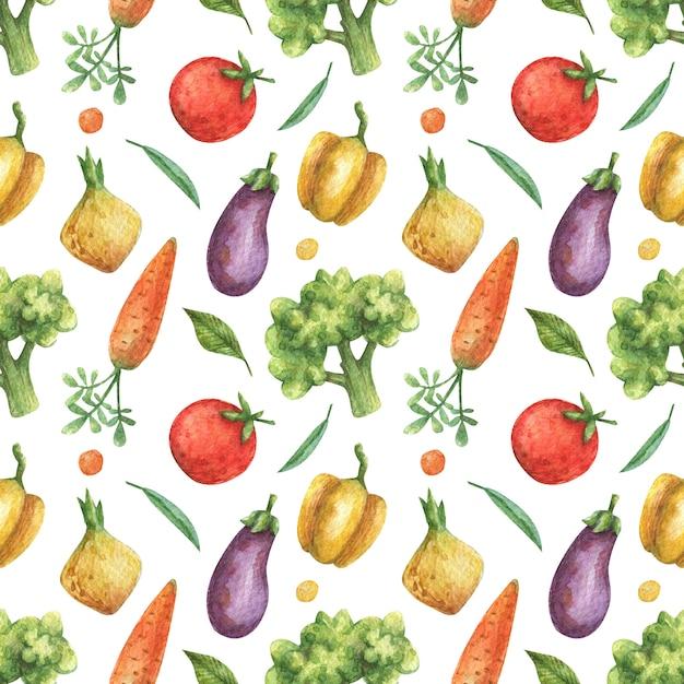 Aquarela sem costura padrão de legumes (tomate, berinjela, cenoura, brócolis, pimenta, cebola) sobre um fundo branco. comida saudável, vegetariana. Foto Premium